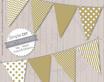 Gold Banners, Printable | Printable Party Banners, Baby Shower banners, Birthday Party banners | Instant Download