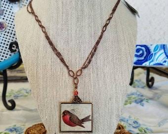 Robin Necklace, birds, spring, robin, mother's day, vintage, vintage postcard, copper