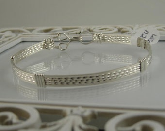 WSB-1123 Handmade .925 Sterling Silver Wire Wrapped Bangle Bracelet