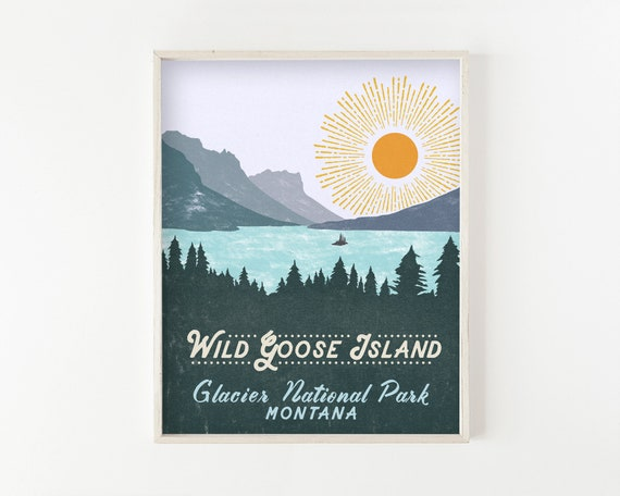 Wild Goose Island - glacier national park wall art, outdoors, wilderness, hiking, quote prints, quote art, adventure, sketch, drawing, art