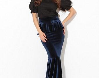 Skirt Mermaid \ Royal blue mermaid skirt \ skirt velvet basque \ velvet maxi skirt \Velvet dark blue \ skirt with velvet bow \ holiday Skirt