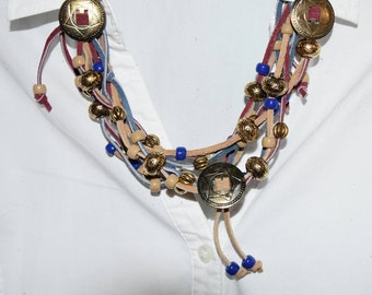 Hand Crafted Tan, Blue and Brown Leather w/ Gold Conchos Necklace & Earrings