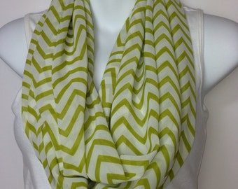 Green and cream chevron chiffon infinity scarf