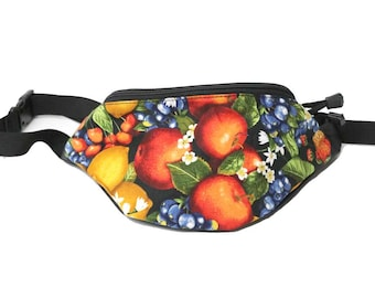 Fanny pack Farmers Market Fruit fabric - Cute  - Hip Waist Bag for travel, sport, and hiking 2-zippered compartments!