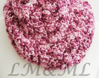 Crochet Snood wool nouance rose and plum
