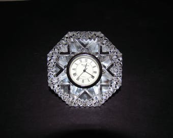 Vintage Waterford Crystal Diamond Paperweight Clock, Lismore Pattern