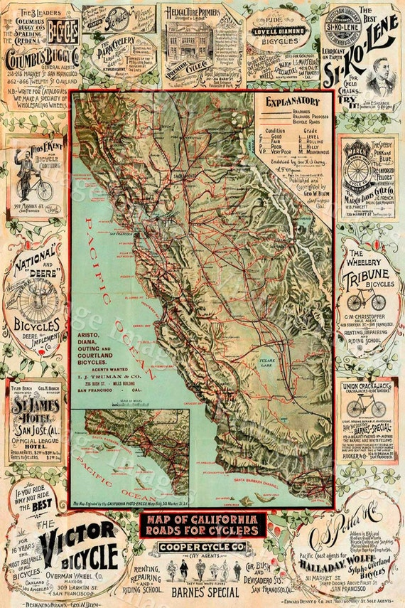 Old California Map California Bicycle Map 1895 Vintage