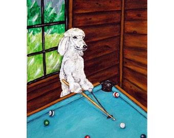 Poodle Playing Pool billiards bar decor signed  Dog Art Print 11x14