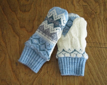 Children's Upcycled Shrunken Wool MIttens(m66)
