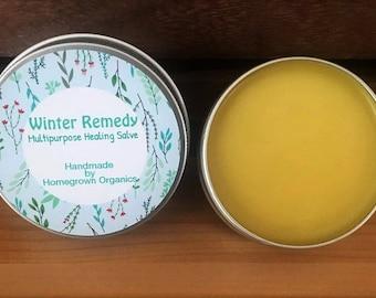 Healing Salve Winter Remedy// Organic Healing Balm// Organic Dry Skin Remedy// Multipurpose Salve