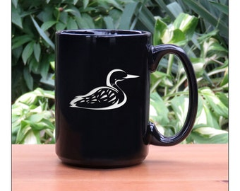 Loon Coffee Mug / #2 / Free Personalization / Personalized Gift / Etched Bird 15 oz Ceramic Coffee Mug /Coffee Tea Hot Chocolate Mug