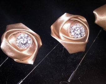 Satin Rose & Crystal Rhinestone Lapel Pin/Boutonniere