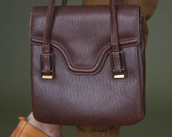 70s vintage structured handbag Brown bag Genuine textured leather bag Kelly's bag Brown leather bag Mod bag
