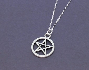 Wiccan necklace etsy pentagram necklace star pentacle pendant supernatural necklace goth pendant wiccan necklace aloadofball Gallery