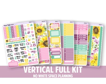 1082-FK // VERTICAL 6 Piece Full Kit - No White Space Planning // Sunflowers Collection // Planner Stickers