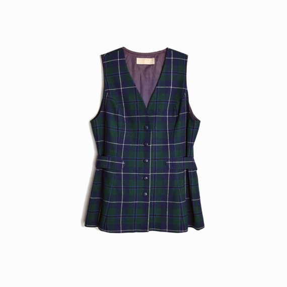 Vintage Pendleton Plaid Wool Vest Top in Navy Blue & Green / 70s Pendleton Belted Vest - women's medium/large