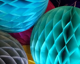 Teal 12 Inch Honeycomb Tissue Paper Balls - Paper Party Decor Decoration Supplies