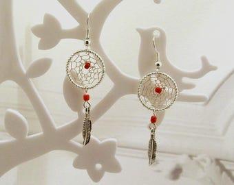 Earrings dream catcher, dream catcher, silver, red glass beads