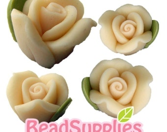 FP-FI-01018  - Flower fimo Rose ,Beige, 4 pcs