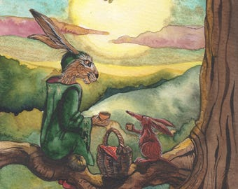 SUMMER SOLSTICE - SIGNED A4 Archival Print. - whimsical, magical, fantasy, Matlock the Hare art print.