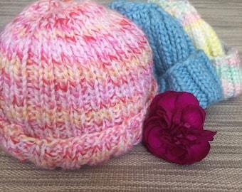 Warm Hand knit 3 - 6 month Baby Hat