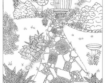Cottage Path Coloring Page Instant Download