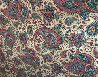 Cork Fabric - Jewel Tone Paisley Print Cork - EcoFriendly - Made in Portugal