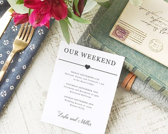 Wedding Agenda Card, Printable Wedding Timeline Letter, Events Card, Itinerary, Agenda, Hotel Card - INSTANT DOWNLOAD