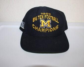 Vintage 1992 Michigan Wolverines Big Ten Champions Snapback by Nutmeg