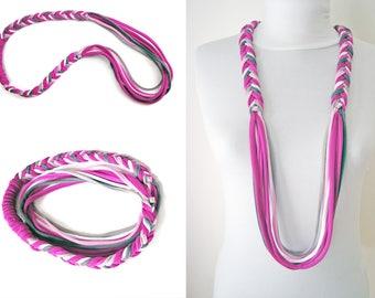 fabric jewelry braided necklace