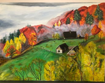 Fall in mountain village painting (oil)