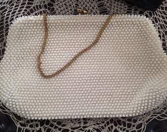 Ivory Cordé Bead Evening Bag by Lumured