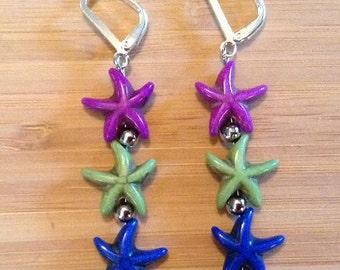 Starfish Earrings - Purple, Green and Blue