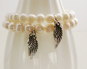 1 Freshwater Pearl Bracelet Cream White sterling Angel Wings charm stacking friendship fashion jewelry Wedding Bridal