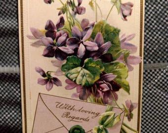 Vintage 1919 With Loving Regards Postcard No. 236