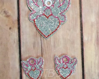 Doves with heart jewelry charms