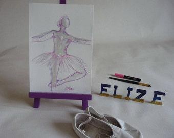 Danseuse Tutu Rose Esquisse artistique  Danse classique Dessin Encre Crayon Originale Format 24 x 32 cm 9 x 12 inch Piece Unique Art