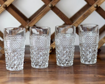 Anchor Hocking Wexford Highball Tumblers Cut Glass Pattern Set of 4