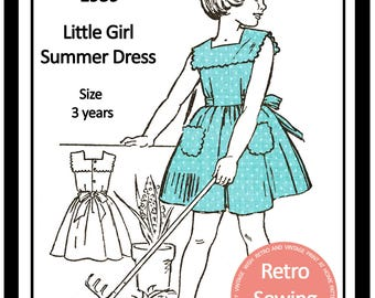 Toddlers Summer Dress 1950s Vintage French Sewing Pattern - Paper Pattern
