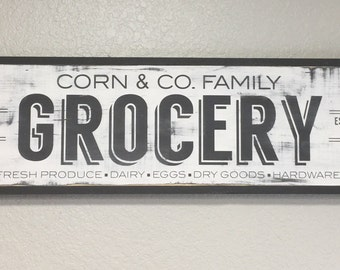 Custom Kitchen Sign, Family Name Sign, Grocery Sign, Farmhouse Sign, Fixer Upper, Farmhouse Decor, Custom Wood Sign, Personalized Sign