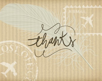 Thanks  post card with feather, Postcards for Postcrossing