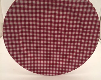 Red and White Gingham Checked Plate Charger