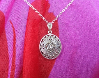 Beautiful Filigreed Marcasite Sterling Silver. Oval Pendant Necklace NBJ319 Marcasite Necklace
