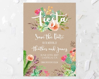 Fiesta Save The Date Printable Invitation Succulent Save The Date Invite Kraft Wedding Announcement Cactus Save The Date Pink Floral 240
