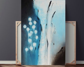 Abstract Painting, Painting on Canvas, Original Painting, Blue Painting, Contemporary Painting, Modern Painting, Circle Painting, 36x24 Day