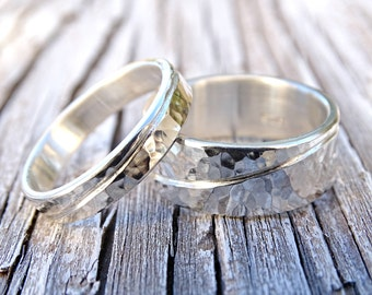 wave silver rings hammered, unique wedding band set, engraved wedding rings silver, his and hers matching wedding bands recycled silver