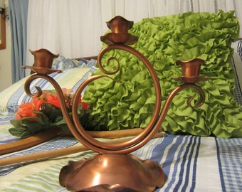 Candle Holders Gregorian Copper  Lovely Vintage 3 Cup Unusual  Made in the USA Unique Gift Idea Copper Collector Home Decor Country Decor