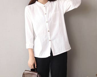 Women cotton and linen cardigan shirt – Long sleeves cotton and linen cardigan shirt