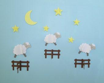 Sheep Jumping Fences 3D Wall Decals, Sheep Nursery Wall Art, Nursery Wall Decor