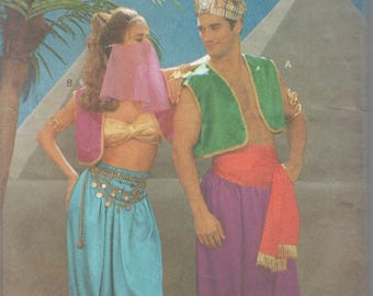 Butterick 4969 Adult Belly Dancer Aladdin Costume Pattern Bra Harem Pants Turban Men Womens Vintage Sewing Pattern Size XS S
